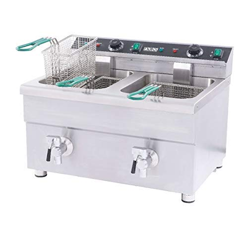 HoodMart B07G6HQ8L9 IFD-30 30 lb ETL Listed Commercial Induction Countertop Fryer, 30-Pound, Silver