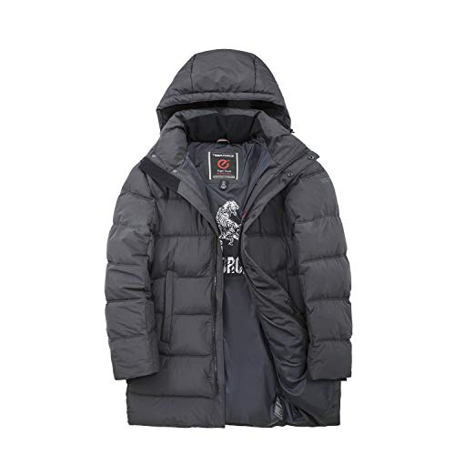 TIGER FORCE Winter Long Coat for Men Thicken Quilted Puffer Jacket with Removable Hood Anorak Snowjacket Padded Outwear Extremely Cold