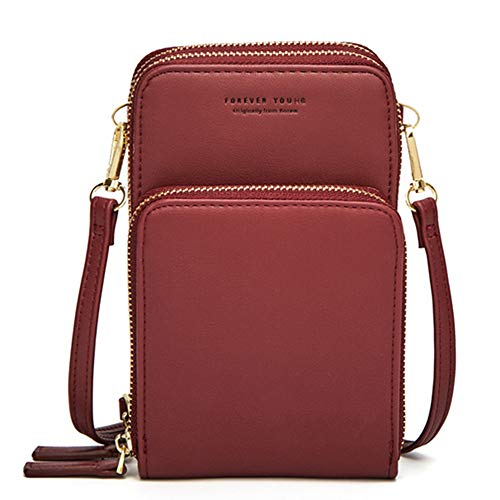 Small Crossbody Phone Bags for Women, Multi Pocket Shoulder Cell Phone Purse Wallet for Travel… (Burgund)