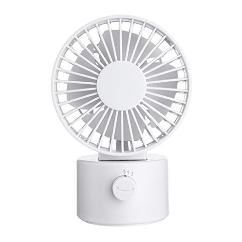 ZXCVBN Casa Exterior Fan Eléctrica, Mini Fan Portátil, Carga por USB, Segunda Velocidad, Conveniente para La Oficina, Sala De Estar del Dormitorio pequeño Ventilador (Color : Blanco)