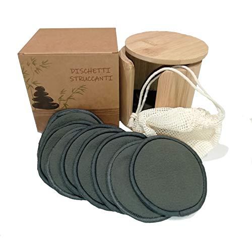 Tampons démaquillants lavables, 16 tampons réutilisables en coton de bambou noir, cadeau de pochette en bambou, sac pour machine à laver, 100% écologique Éco-durable Bio végétalien, pas de déchets