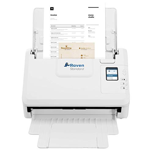 Raven Standard Document Scanner for PC and Mac Computers, Color, Duplex, Auto Document Feeder (ADF) (USB), Home or Office Desktop