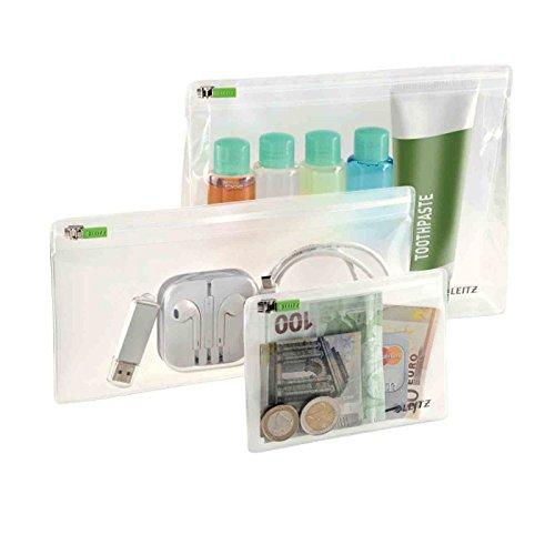 Leitz 3er-Pack Zip-Beutel, Größen sortiert, XS, S und M, PVC, Complete), Farblos, 40100000