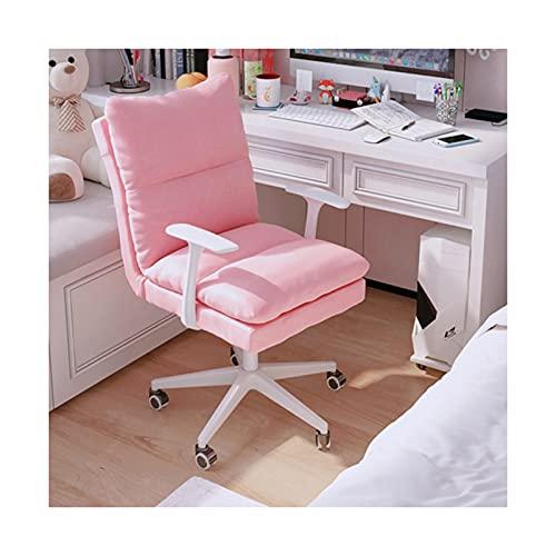 Bequemer Home Office Stuhl, gepolsterter Schreibtischstuhl Leinen Verstellbarer drehbarer Waschtisch für Schlafzimmer Wohnzimmer, blau/pink/Khaki/gelb