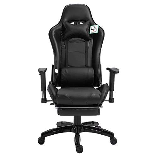 OUTAD Sedia Gaming Ergonomica sedie da Gaming con poggiapiedi, Ufficio da Scrivania Poltrona,Altezza Regolabile e Supporto Lombare (Nero-2)