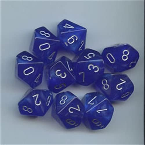 Chessex Dice Sets  Velvet Blau with Silber - Ten Sided Die d10 Set (10) by Chessex