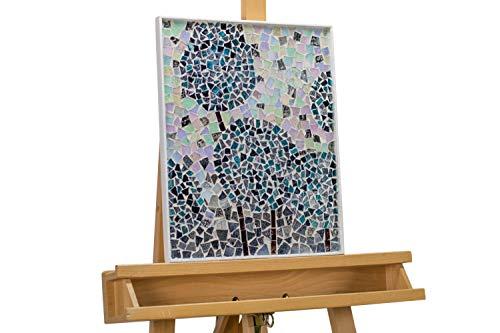 Kunstloft® Extravagante Cuadro de Mosaico 'Déjalos IR' 41x33x2cm   decoración XXL Arte de Vidrio   Globos romántico Pastel Azul   Cuadro Hecho a Mano Imagen Mural Moderno