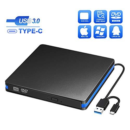 Grabadora CD/DVD Externa USB 3.0 y Tipo C, BlueFire Unidades de Externa Portátil CD-RW/DVD-RW/ROM Drive con Capacidad de Corrección de Errores para Windows Mac Vista OS Laptop