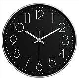 Orologio da parete moderno e silenzioso, orologio da parete digitale di facile lettura da 30 cm, per cucina, soggiorno, ufficio (nero-argento)
