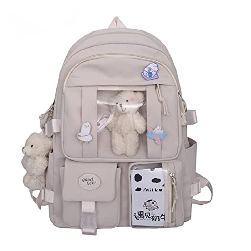 Kawaii Canvas School Backpack with Pendant, Laptop Shoulders Bag, Back to School Off to College Supplies (Beige)