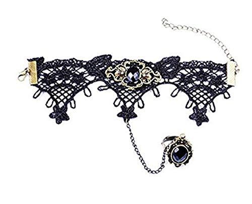 Inception Pro Infinite - Justierbarer Frauenring - Armband - Armband - Hand - Spitze - Kuss - gotisch - Victorian - Schwarze Farbe