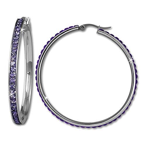 Amello Edelstahl Creolen Damen Swarovski Elements Ohrringe lila 50mm D3ESOS05V Edelstahl Ohrschmuck für die Frau