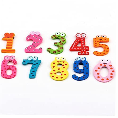 TOSSPER 10pcs Numeri Colorati Numeri del Fumetto Decoration Frigorifero Autoadesivo del Magnete di Legno Istruzione Sticker Bambini Giocattoli