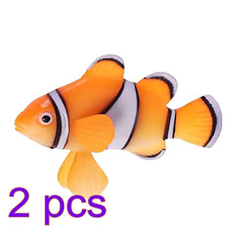 POPETPOP 2 unidades de decoración flotante de silicona para acuario o pecera de agua salada con forma de pez