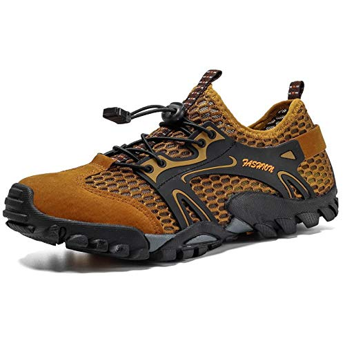 Zapatos de Piscina,Zapatos de montañismo Zapatos de Playa al Aire Libre Calzado Deportivo para Hombres Zapatos de Senderismo-Brown_44#,Cómodo