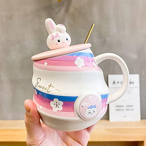 Conejo de dibujos animados taza de cerámica con cuchara con tapa chica lindo agua taza de café leche té taza hogar estudiante pareja regalo (color: D)