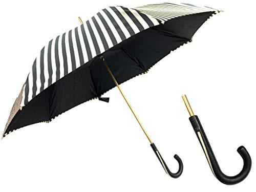 PASOTTI Damen Regenschirm Luxury Limited Edition gestreift Creme schwarz Ledergriff
