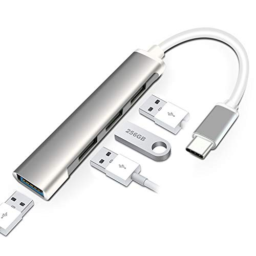 BASIC HOUSE 4 en 1 USB Tipo-C a 3 Puertos USB 2.0 USB 1 Puerto 3.0 PD Puerto de carga Hub Adaptador Multifunción (Tipo-C Espacio Gris 4 Puerto)