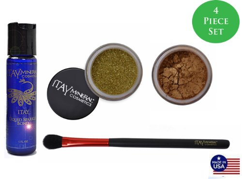 ITAY Mineral Cosmetics Mineral Bond + Eye Shadow # 46 Desert + Glitter G06 or + Eye Shimmer Brush (Lot de 4 pièces)