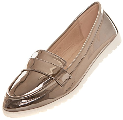 CAPRIUM Modern Slipper Halbschuhe Low-Top Ballerinas Loafer, Damen 000Y06 (38, Grau Metallic)
