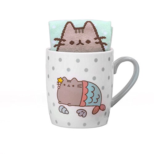 Thumbs Up Pusheen calcetín de sirena en una taza, cerámica, blanco, 12 x 9,5 x 8,5 cm