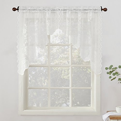 """No. 918 Alison Sheer Lace Kitchen Curtain Swag Pair, 58"""" x 38"""", White"""