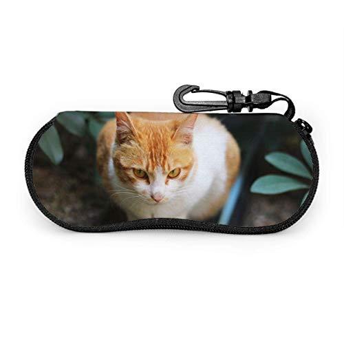 Bran-don Cute Yellow Cat Gafas de sol para mascotas con hebilla de bloqueo Soft Bag Glasses Case