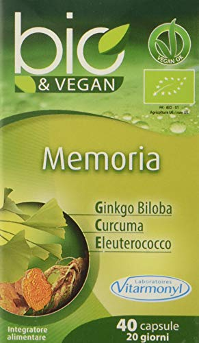 Vitarmonyl MEMORIA BIO&VEGAN  Integratore 40 capsule  100% vegan  Registrato Ministero Salute Italiano