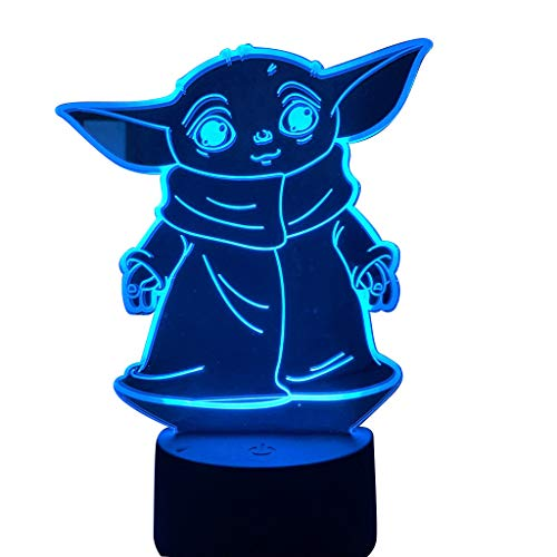 Baby Yoda 3D Night Light, 7 Color Change Decor Lamp, Toys and Gifts for Boys Girls.