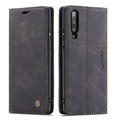 QLTYPRI Hülle für Samsung Galaxy A50, Vintage Dünne Handyhülle mit Kartenfach Geld Slot Ständer PU Ledertasche TPU Bumper Wallet Hülle Flip Schutzhülle für Samsung Galaxy A30S A50 A50S - Schwarz