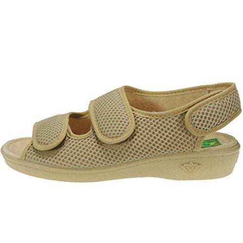 ALBEROLA 66750 Zapatilla Rejilla Nailon Punta Abierta Verano Forro Toalla Velcros para Mujer BEIG Talla 38