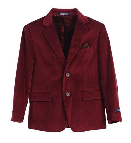 Gioberti Big Boys Formal Velvet Blazer with Designed Buttons, Burgundy, Size 10