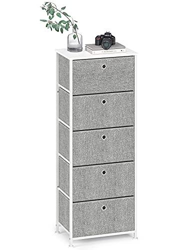 Cómoda de Tela Cajonera Organizador Vertical Almacenaje Gabinete de Almacenamiento Estrecho con 5 Cajónes Armario Alto para Entrada Salon Pasillo Cocina Dormitorio Madera+Metal Blanca+Gris