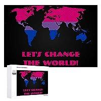 INOV 両性愛 プライド 世界地図 ジグソーパズル 木製パズル 1000ピース インテリア 集中力 75cm*50cm 楽しい ギフト プレゼント