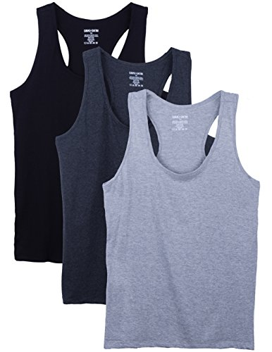 Caramel Cantina Camisetas sin mangas de algodón para mujer 3 Pack 1X Blk/Ch/Hg