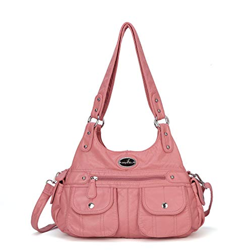 "❤MATERIAL--High Quality PU leather handbags shoulder tote bags; Durable and fashionable ❤Dimension(L*W*H): Size:13.8*4.7*11.8 inches , Handle height: 10.6""/27CM(long enough to put on shoulder), Weight: about 1.65pounds/0.75KG ❤Multiple Pockets: The t..."