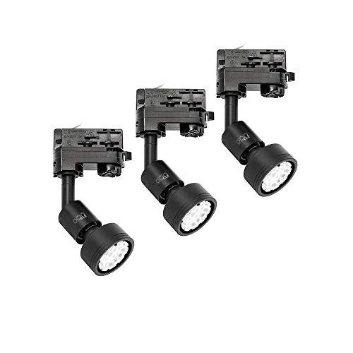 3x CLE PURI LED GU10 schwarz 3 Ph. Stromschienstrahler f. Erco Staff Lival Eutrac Global Schiene max. 50W