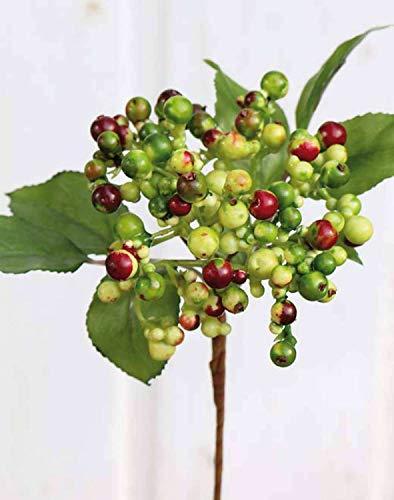 PARC Network - Deko Zweig Holunderbeere, hellgrün-rot, 30cm - Künstlicher Beerenzweig - Kunstzweig - Kunstpflanze - Künstliche Pflanze mit Beeren