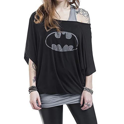 Xixiaowh - Camiseta de manga corta para mujer, diseño de Batman, color negro