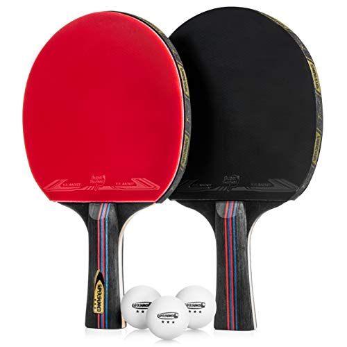 Super Skunked Ping Pong Paddle/Table Tennis Racket 2 Player SetProfessional Set with Carry case and 3 Table Tennis BallsPractice/Professional Games Portable Soft Sponge Rubber