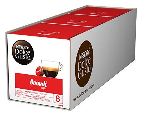 NESCAFÉ Dolce Gusto Espresso Buondi, 48 Kaffeekapseln (Intensität 8, samtweiche Crema), 3er Pack (3 x 16 Kapseln)
