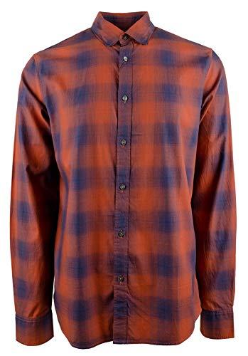Michael Kors Mens Plaid Button Up Shirt, Orange, Medium