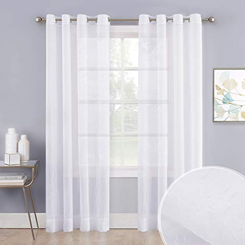 """NICETOWN Crushed Voile Sheer Curtains for Big Windows, Grommet Top Crinkled Sheer Voile Window Treatment Light and Airy Drapes for Parlor/Porch (Set of 2, 52"""" Width x 95"""" Length, White)"""