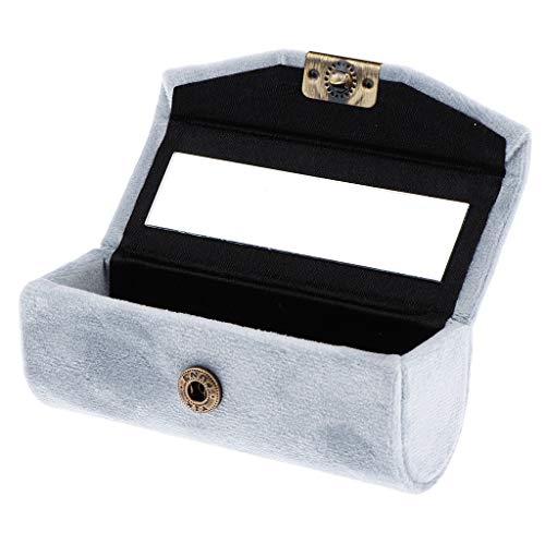Sharplace Boîte Etui de Rouge à Lèvres en Velveteen avec Mirror Supports Braillant à Lèvres Lipstick Petit de Boîte à Bijoux - Gris