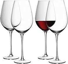 طقم من 4 قطع زجاج نبيذ أحمر صناعة يدوية