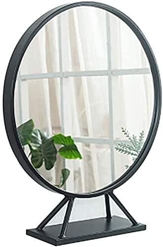 Espejo de baño con tocador Iluminado, Maquillaje Moderno para Colgar en la Pared, tocador Decorativo Redondo, Vertical, Horizontal (Color: Negro, tamaño: 500 mm)