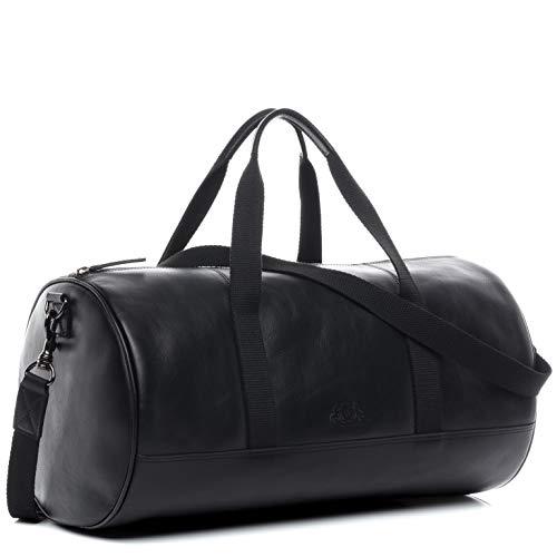 FEYNSINN Sporttasche echt Leder Finlay Reisetasche Weekender Ledertasche Unisex 46 cm schwarz