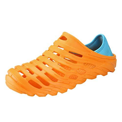 Xmiral Herren Wasserschuhe, Gummi Strand Sandalen Unisex Sommer Loch Schuhe Urlaub Walking Sandal Bequeme Weiche Atmungsaktiv Indoor Outdoor Flach Wasser Sommerschuhe(Orange,45 EU)