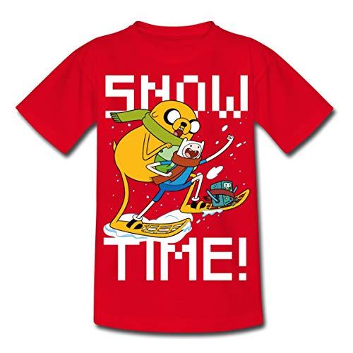 Spreadshirt Adventure Time Finn Und Jake Snow Time Teenager T-Shirt, 134-146, Rot