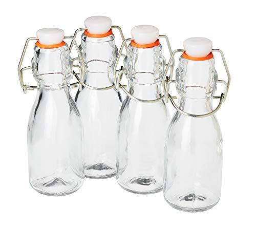 4er-Set VBS Mini-Bügelflaschen 100ml 0,1 Liter Glasflaschen mit Bügelverschluß Saftflasche Schnapsflasche Essig Öl Likörflasche selbstbefüllen Glas klar zum einfüllen